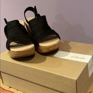Black cork sole sandals